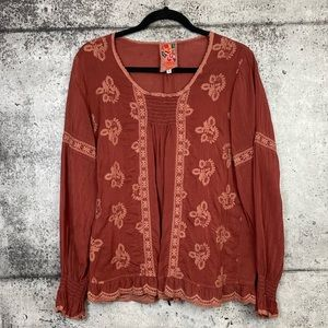 Johnny Was // Rust Colour Embroidered Blouse